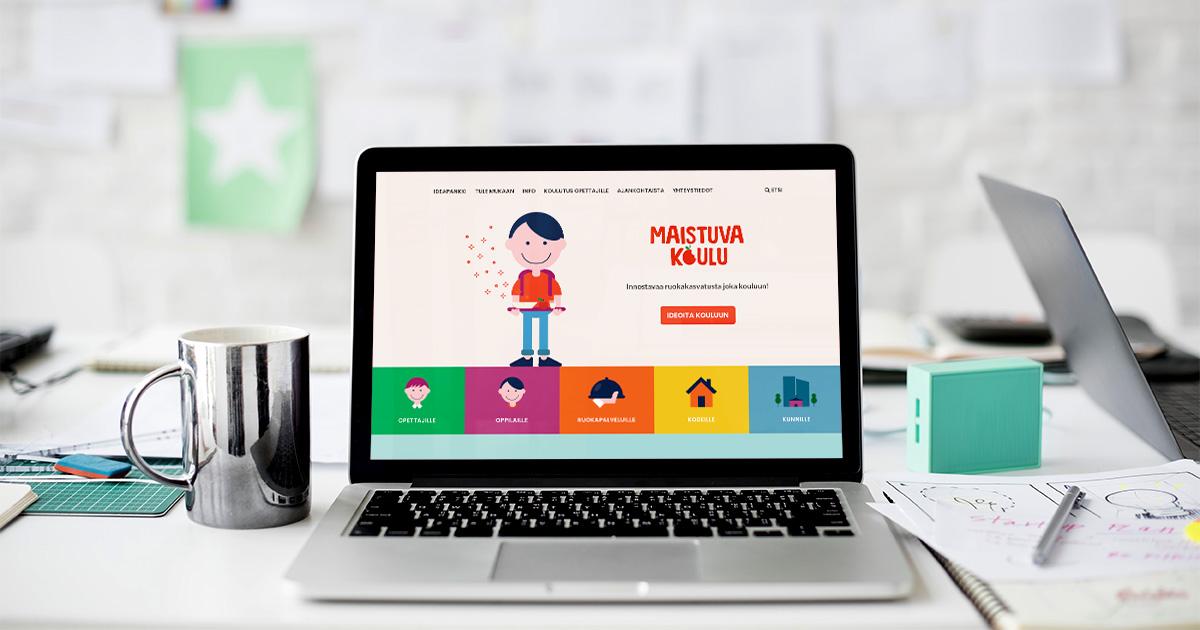 Maistuva Koulu -hankkeen verkkosivudesign.