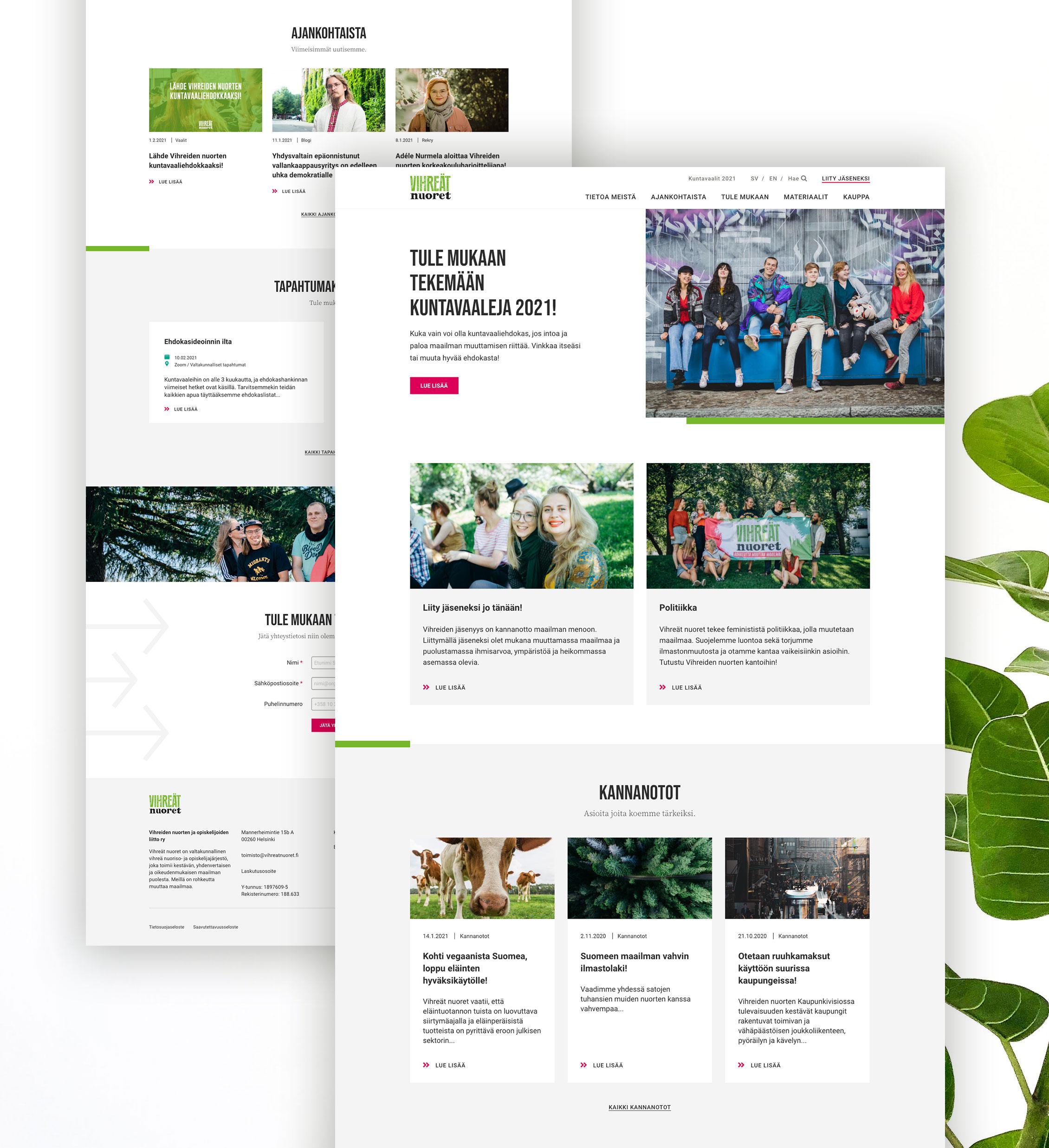 Vihreiden nuorten uudet verkkosivut.